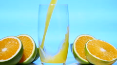 Slow motion, Orange Juice. Vitamin C. Healthy drink, Summer Stock Footage