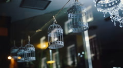 Beautiful decorative bird cages hanging on a rope. Stock Footage