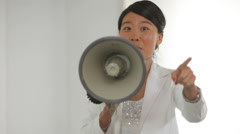 Business woman with megaphone Stock Footage