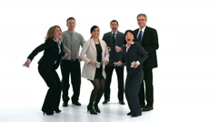 Group of businesspeople celebrate and throw money Stock Footage