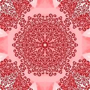 Mandala Print on Red Seamless Texture. Vintage decorative element endless hand - stock illustration