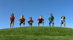Slow motion kids jumping Stock Footage