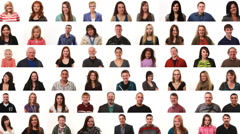 Large montage of people on white background Stock Footage