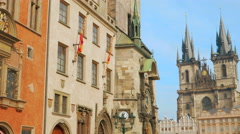 Tilting Shot Showing the Clock Tower in Old Town Square Prague Stock Footage