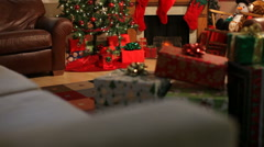 Living room decorated for Christmas, jib up Stock Footage