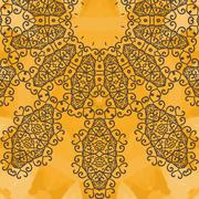Indian Yoga Ornament, kaleidoscopic floral yantra. Seamless ornament lace - stock illustration