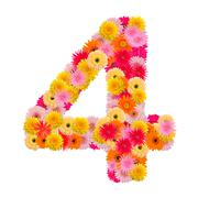 flower numberfour. Floral element of colorful alphabet made from gerbera - stock photo