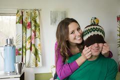 A teenage couple fooling around Stock Photos