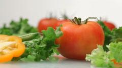 Fresh vegetables & salad ingredients Stock Footage