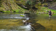 Fly Fishing Mountain Stream Stock Footage