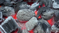 Slow motion of South African braai barbecue coals on fire Stock Footage