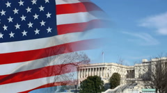 Washington DC Capitol and US flag Stock Footage