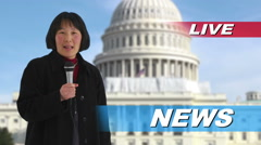 News reporter talking in front of US Capitol building Stock Footage