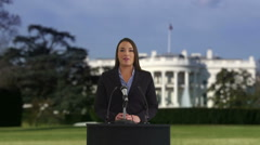 Politician speaking in front of White House Stock Footage