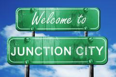 junction city vintage green road sign with blue sky background - stock illustration
