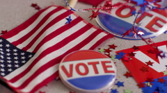 Election & Vote signs, buttons and decorations - stock footage