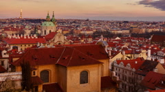 Sunset timelapse of Prague Old Town district (Mala Strana) Stock Footage