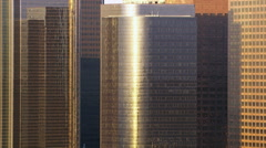 Los Angeles skyscrapers reflecting early morning light Stock Footage