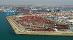 Port of Long Beach, aerial view - stock footage