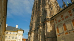 Cinematic Panning Shot of the Front Side of St Vitus Cathedral Stock Footage