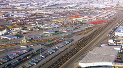 Aerial view of train yard in east Los Angeles Stock Footage