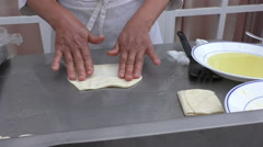 Chef making thin crepe pancakes Stock Footage