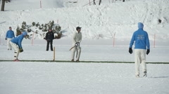 Cricket on ice batting slow motion Stock Footage