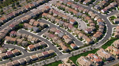 Aerial shot of housing development Stock Footage