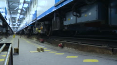 Subway Depot. Underground Train Car Moving Forward and Another Standing Still Stock Footage