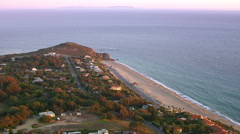 Aerial shot of beach and Point Dume, Malibu, California Stock Footage