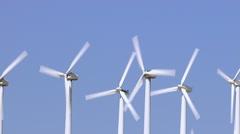 Aerial shot of energy producing wind turbines Stock Footage
