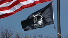 POW MIA flag waving in wind, Washington DC Stock Footage