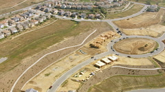 Aerial shot of home construction Stock Footage