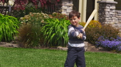 Father and son playing baseball Stock Footage