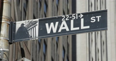 Wall Street sign in New York City handheld Stock Footage