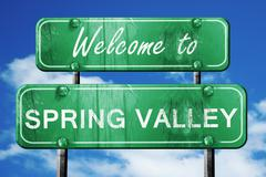 spring valley vintage green road sign with blue sky background - stock illustration
