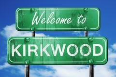 Kirkwood vintage green road sign with blue sky background Piirros