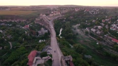 4K aerial shot of  Castle at sunset castle and one of the largest castles in Stock Footage