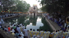 Celebration of Timkat (Epiphany) at Fasilides' Bath, Gondar, Ethiopia Stock Footage
