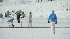cricket on ice batting slow motion - stock footage