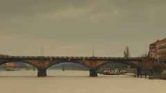 Panoramic View of the Palacky Bridge from Vltava River in Prague Stock Footage