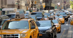 New York City yellow cabs cars on Park Avenue driving - stock footage