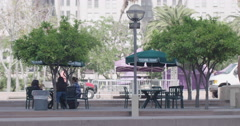 Pan across cafe tables in Pershing Square Los Angeles 4K Stock Footage