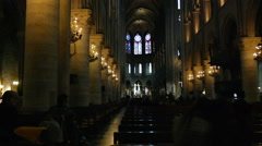 Interior of Notre-Dame Cathedral in Paris. Stock Footage