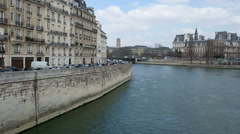 River Sena in Paris, France. River Street in the city close to the Cathedral Stock Footage