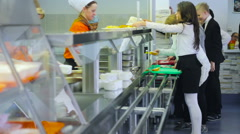 Students in the Dining Room. Canteen. Food Distribution. Line For Food. - stock footage
