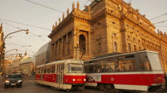 Traffic Flowing Past the National Theatre in Prague Stock Footage