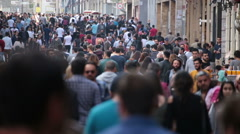 Crowd of people walking (afternoon). Istanbul/Taksim/Istiklal/April/2016 Stock Footage