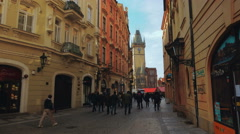 Tourists Walking Towards the Old Town Square in Prague Stock Footage