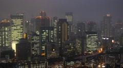 Osaka skyline at dusk, Osaka, Japan Stock Footage
